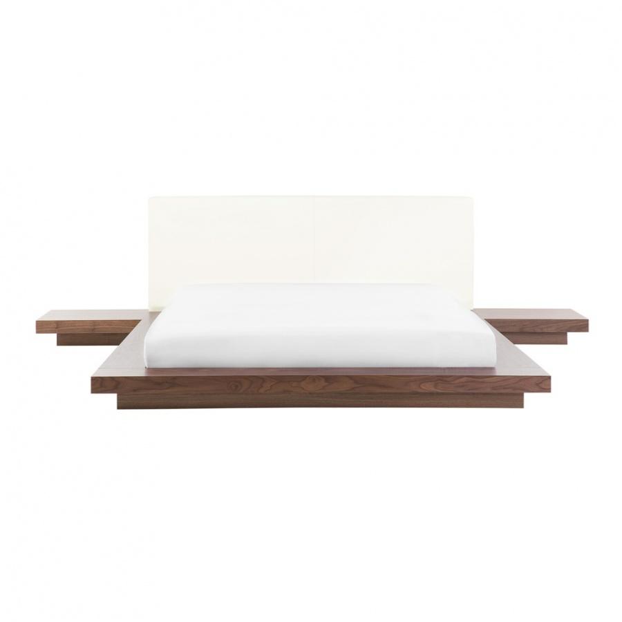 Łóżko z LED 160 x 200 cm brązowe ZEN