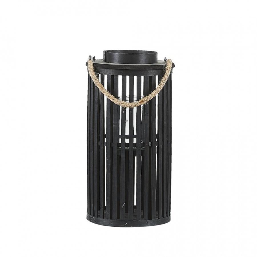 Lampion drewniany 40 cm czarny LUZON