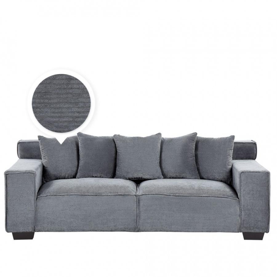 Sofa 3-osobowa sztruksowa ciemnoszara VISKAN