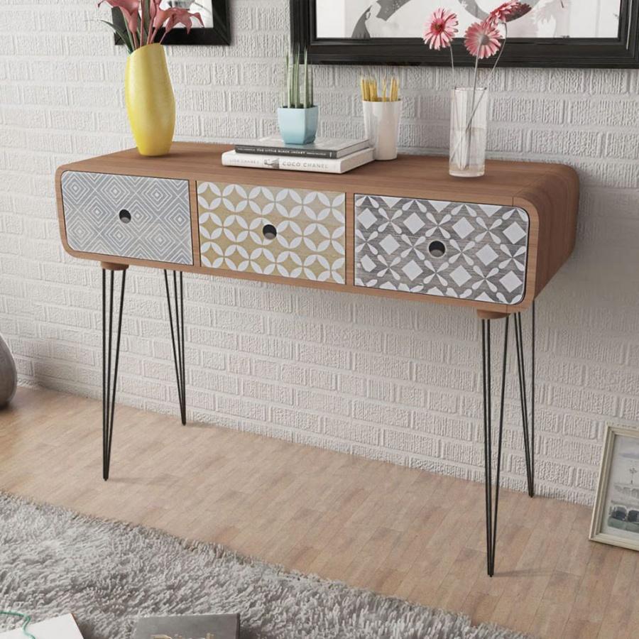 Stolik typu konsola z trzema szufladami, brązowy