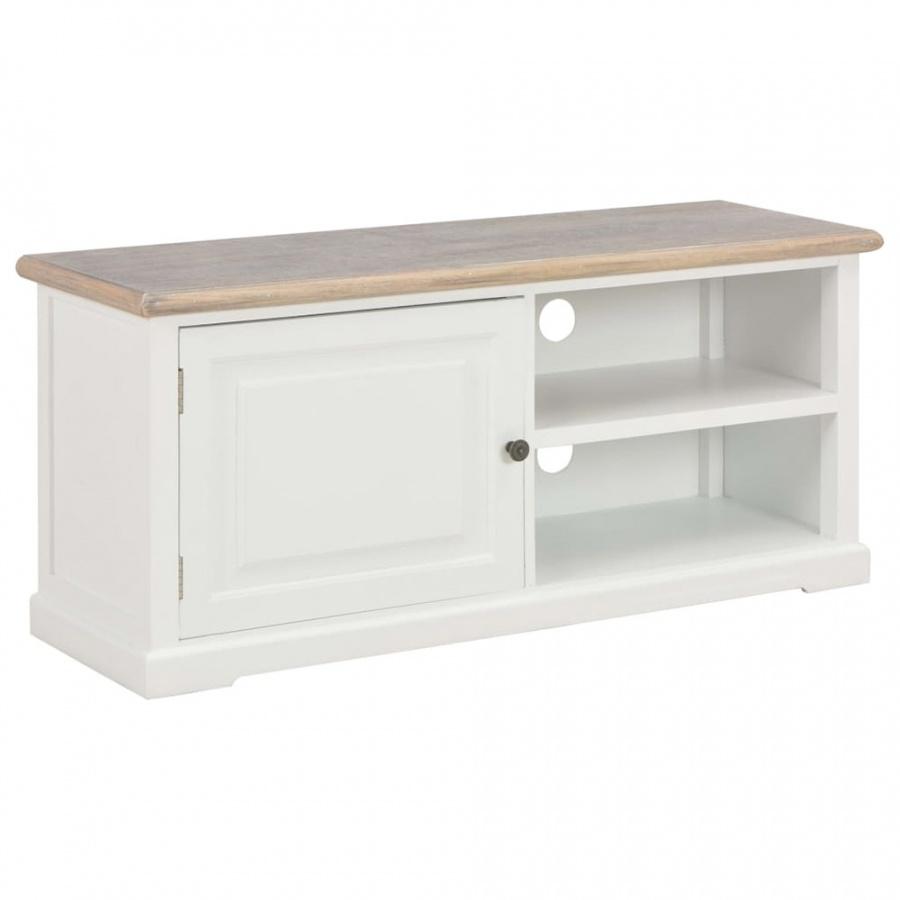 Szafka pod TV, biała, 90x30x40 cm, drewniana