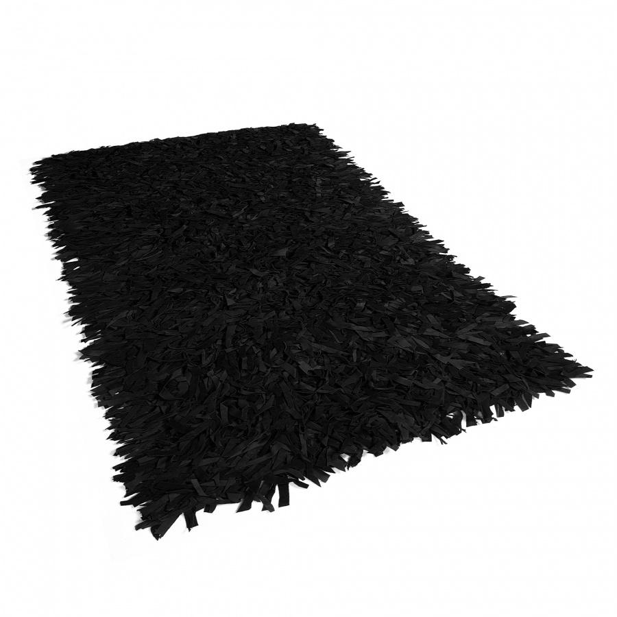 Dywan czarny 140 x 200 cm skórzany MUT
