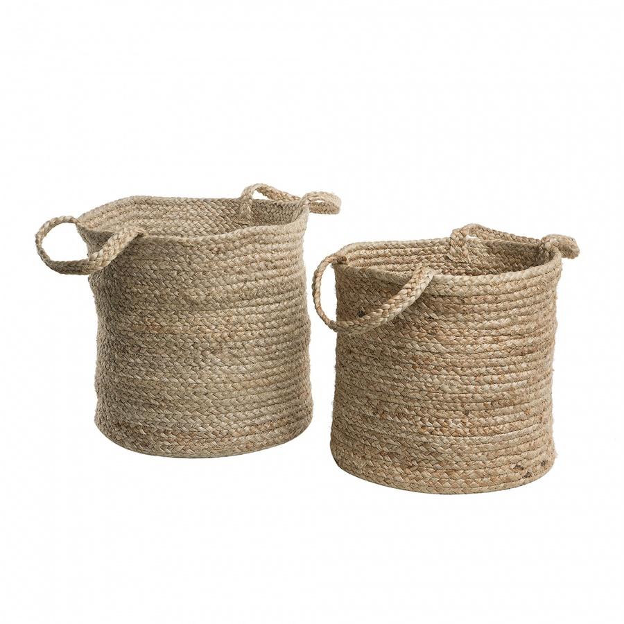 Zestaw 2 koszy tekstylnych piaskowy KAELLA