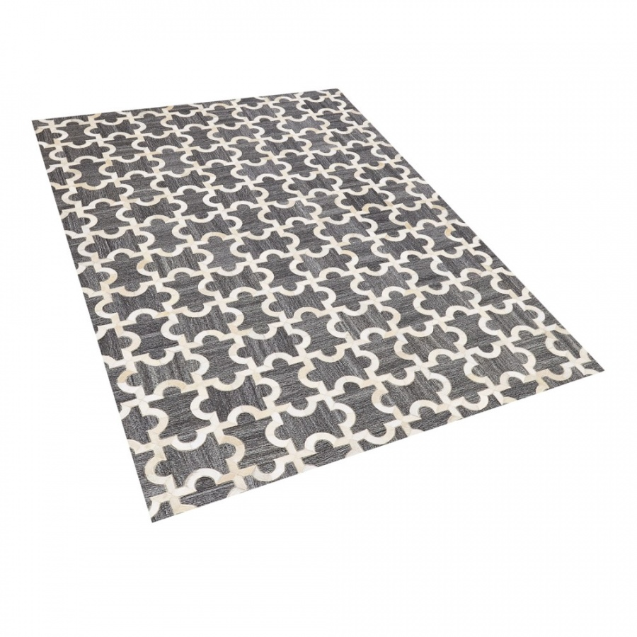 Dywan skórzany 160 x 230 cm szaro-beżowy YEDISU