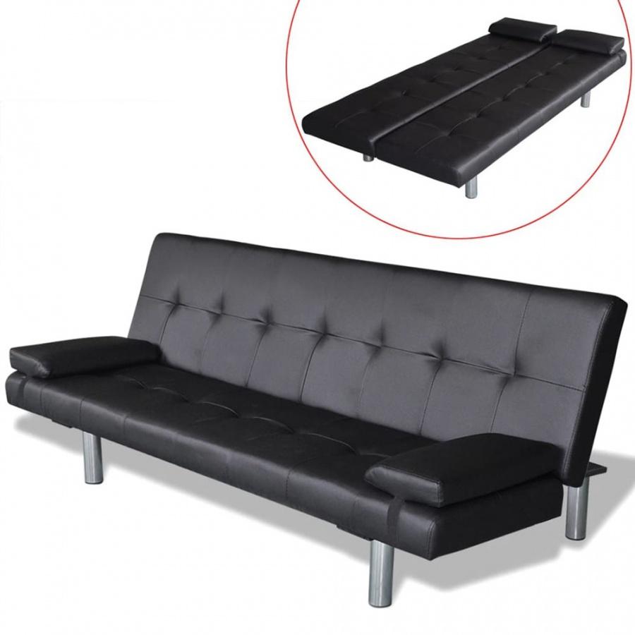 Kanapa rozkładana z dwiema poduszkami, sztuczna skóra, czarna
