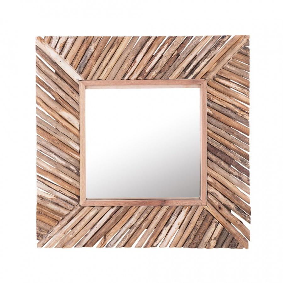 Lustro Å›cienne 60 x 60 cm jasne drewno KANAB
