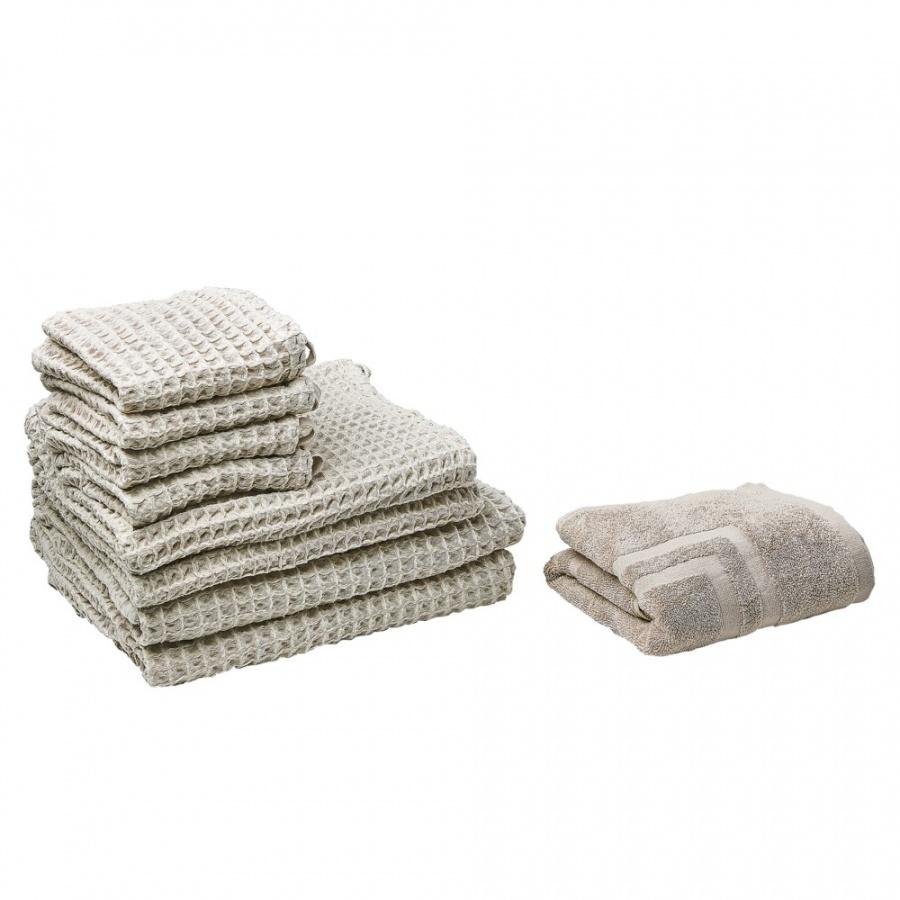 Komplet 9 ręczników bawełniany beżowy AREORA