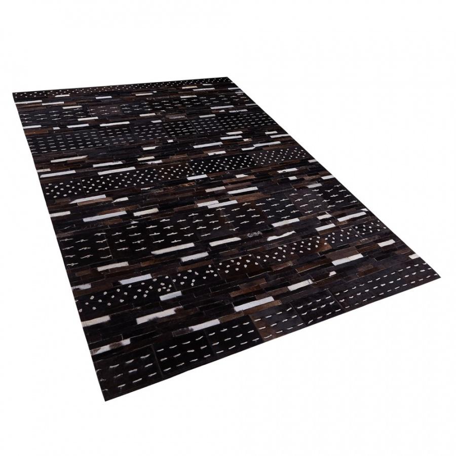 Dywan patchwork sk贸rzany 140 x 200 cm br膮zowy AKSEKI