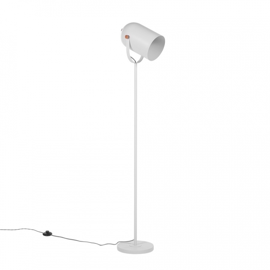 Lampa podłogowa regulowana metalowa biała TYRIA