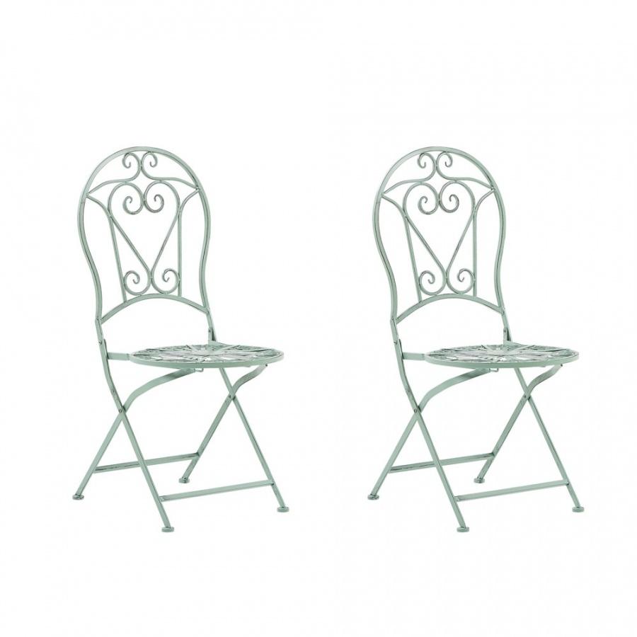 Zestaw 2 krzeseł ogrodowych metalowy zielony TRENTO