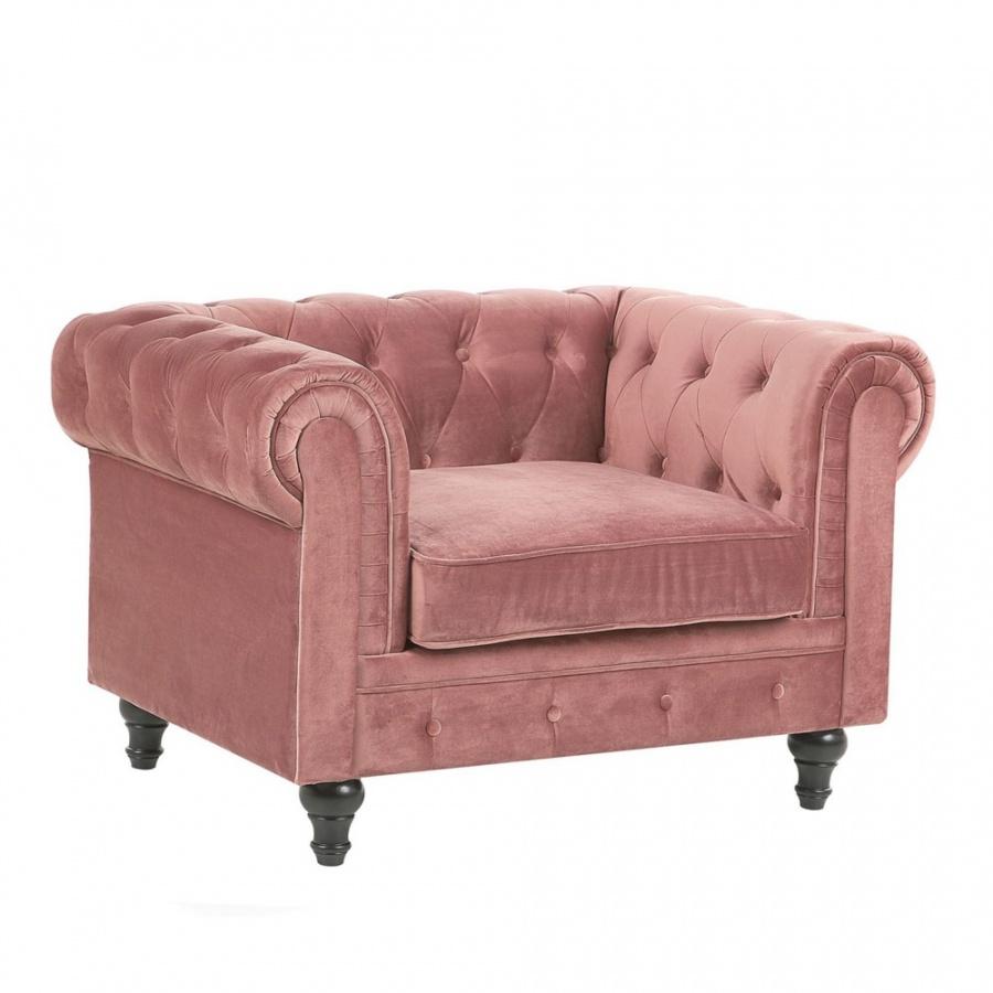 Fotel welurowy różowy CHESTERFIELD
