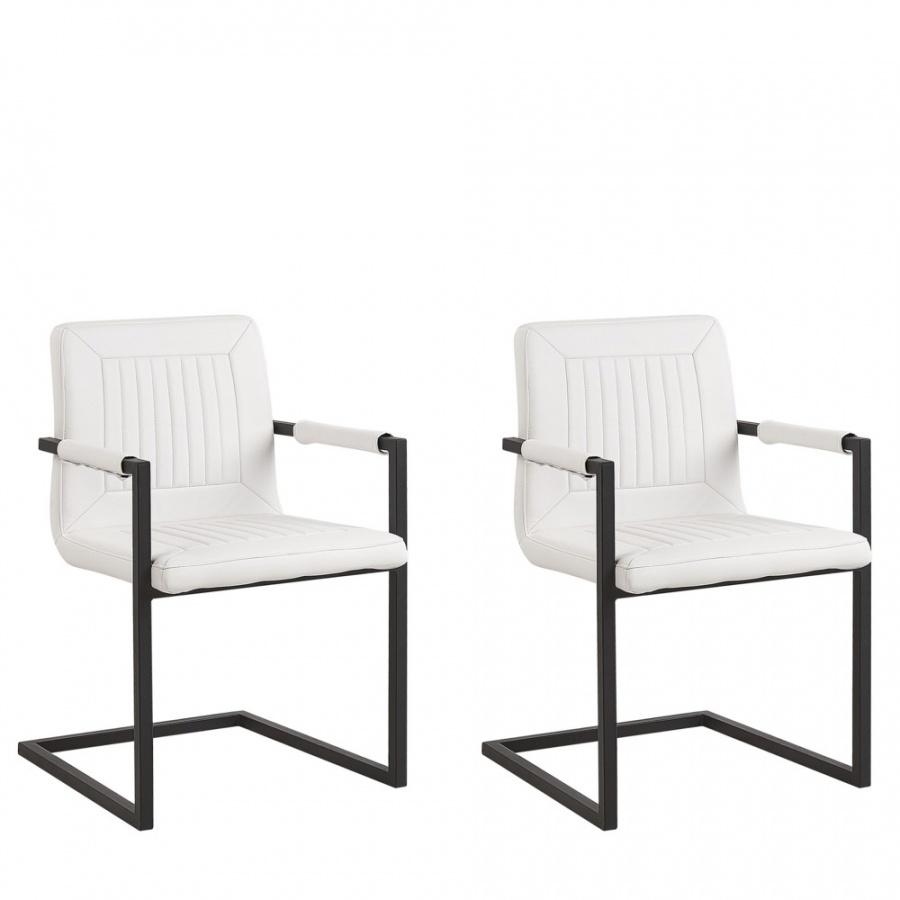 Zestaw 2 krzeseł do jadalni ekoskóra biały BRANDOL