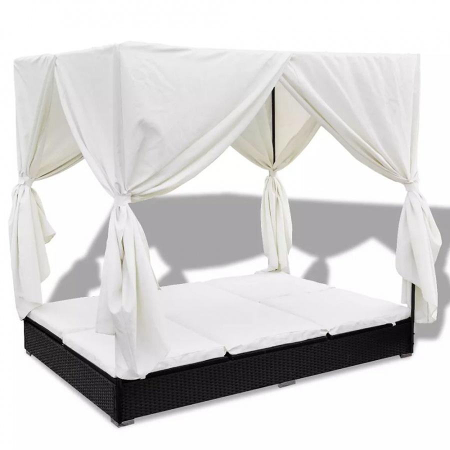 Łóżko ogrodowe z baldachimem polirattan czarne
