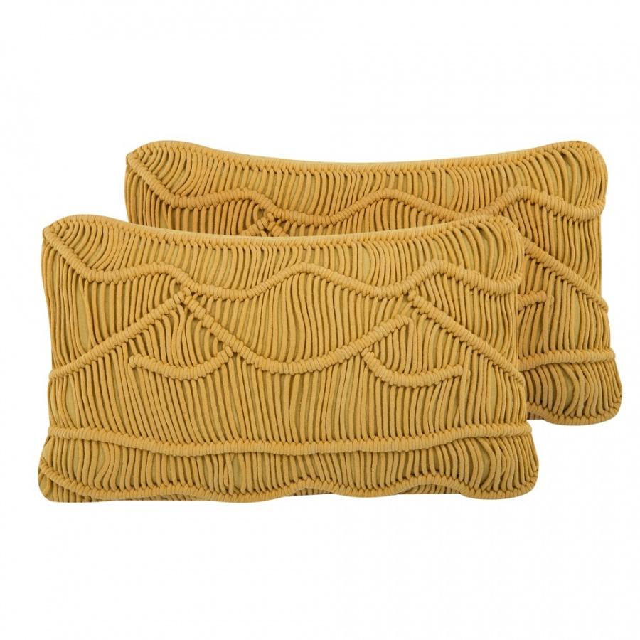 Zestaw 2 poduszek dekoracyjnych makrama 30 x 50 cm 偶贸艂ty KIRIS