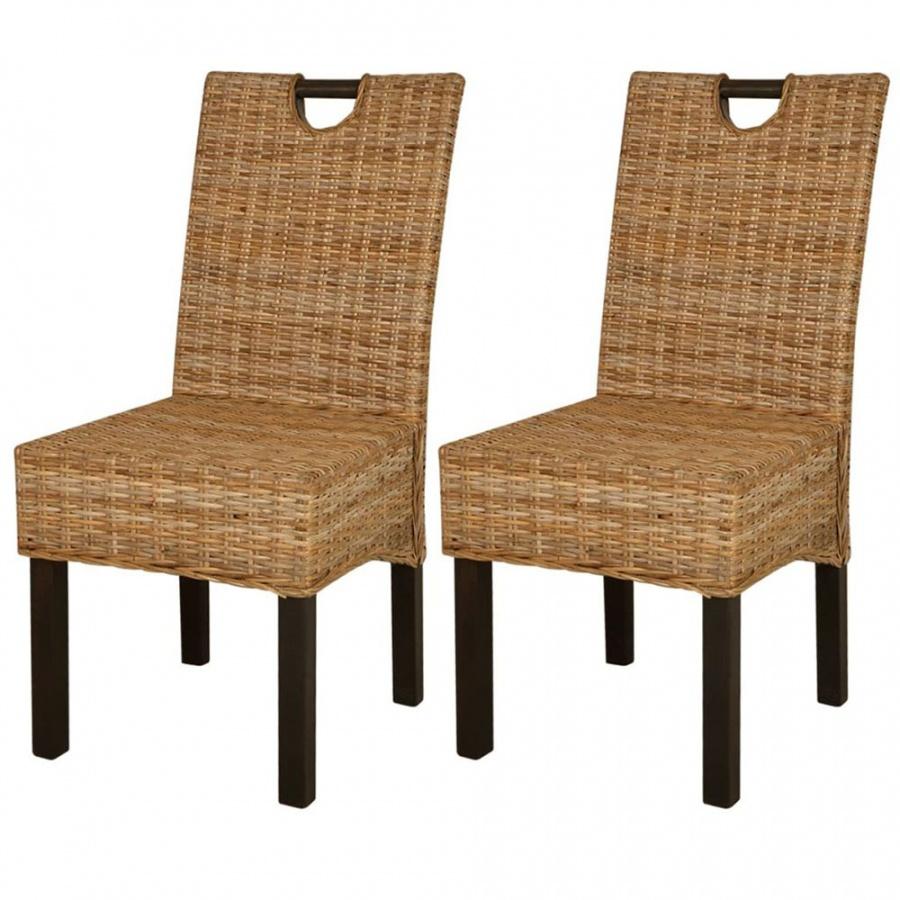 Krzesła do jadalni, 2 szt., rattan Kubu i drewno mango