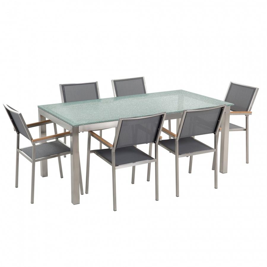 Zestaw ogrodowy szklany blat 180 cm 6 osobowy szare krzesła GROSSETO