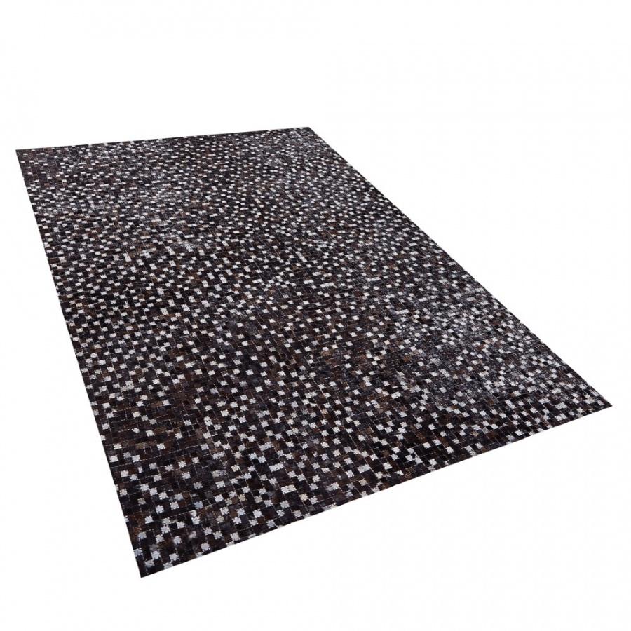 Dywan patchwork sk贸rzany 140 x 200 cm br膮zowy AKKESE