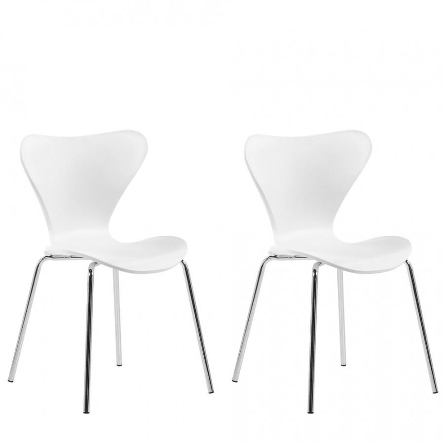 Zestaw 2 krzeseł do jadalni biały BOONVILLE