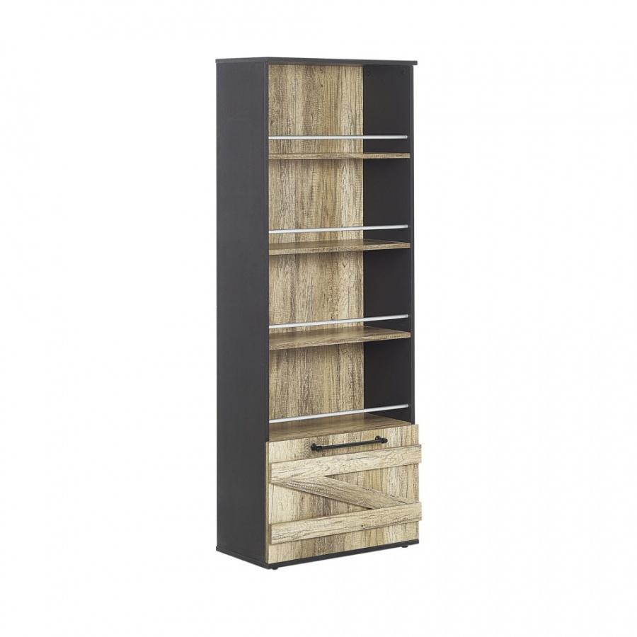 Regał 4 półki jasne drewno z czarnym SALTER