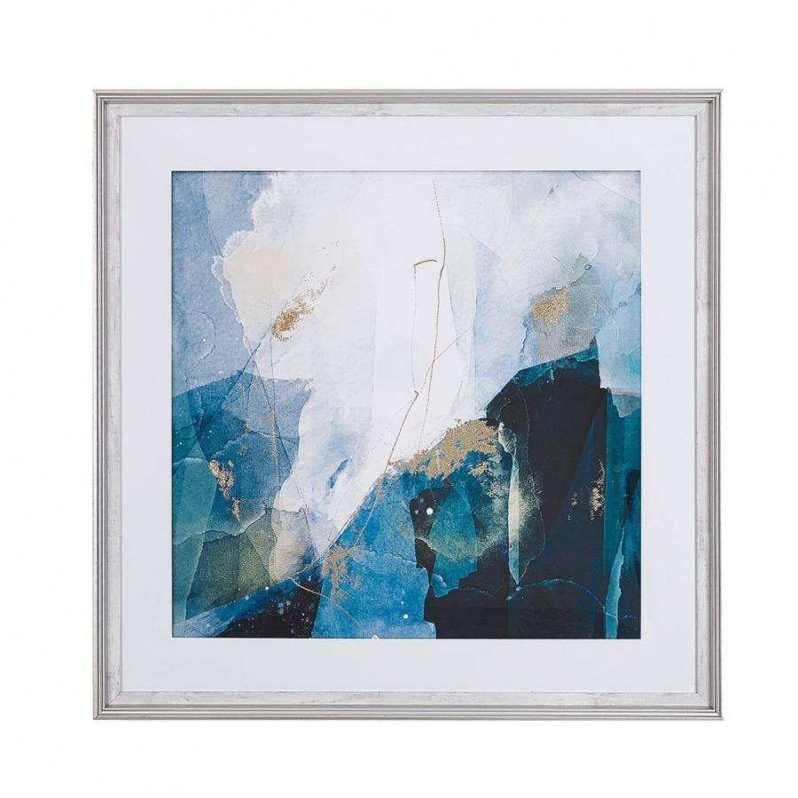 Obraz w ramie 60 x 60 cm niebieski MONGA