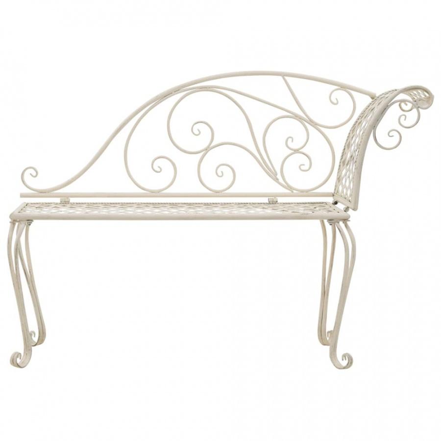 Szezlong ogrodowy, 128 cm, metalowy, antyczna biel