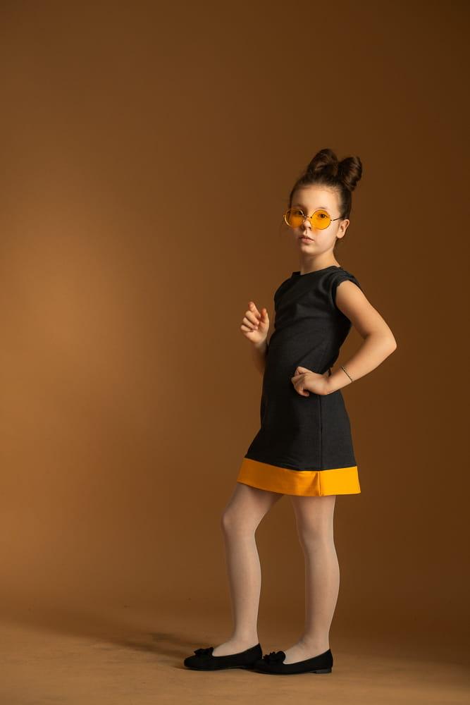 Sukienka Sukienka dziewczęca grafit z mandarynką