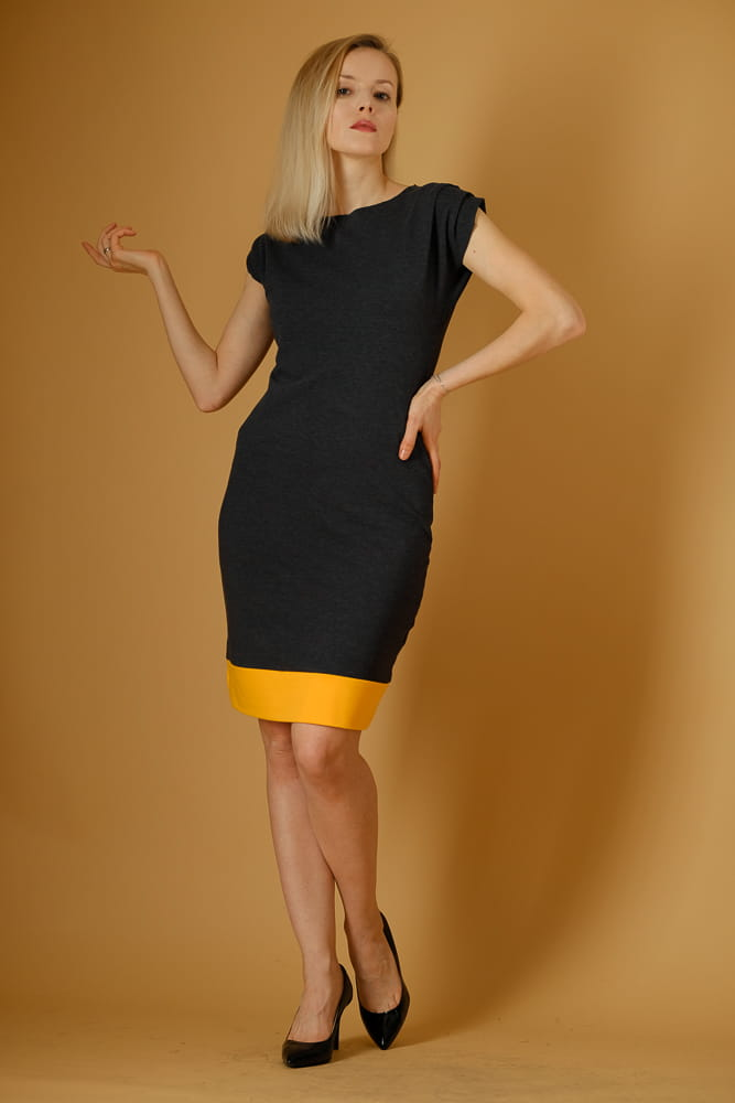 Sukienka Sukienka damska grafit z mandarynką