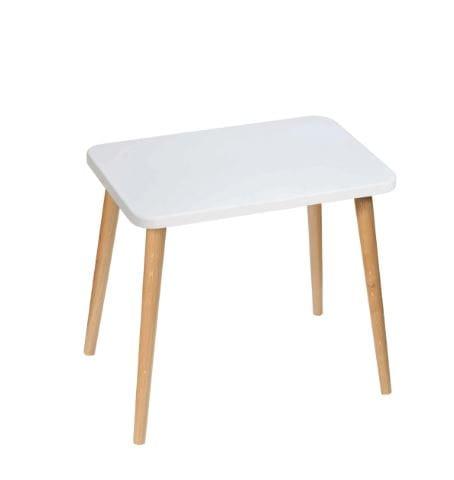 Stolik Crystal White 40×60 dÄ™bowe nogi
