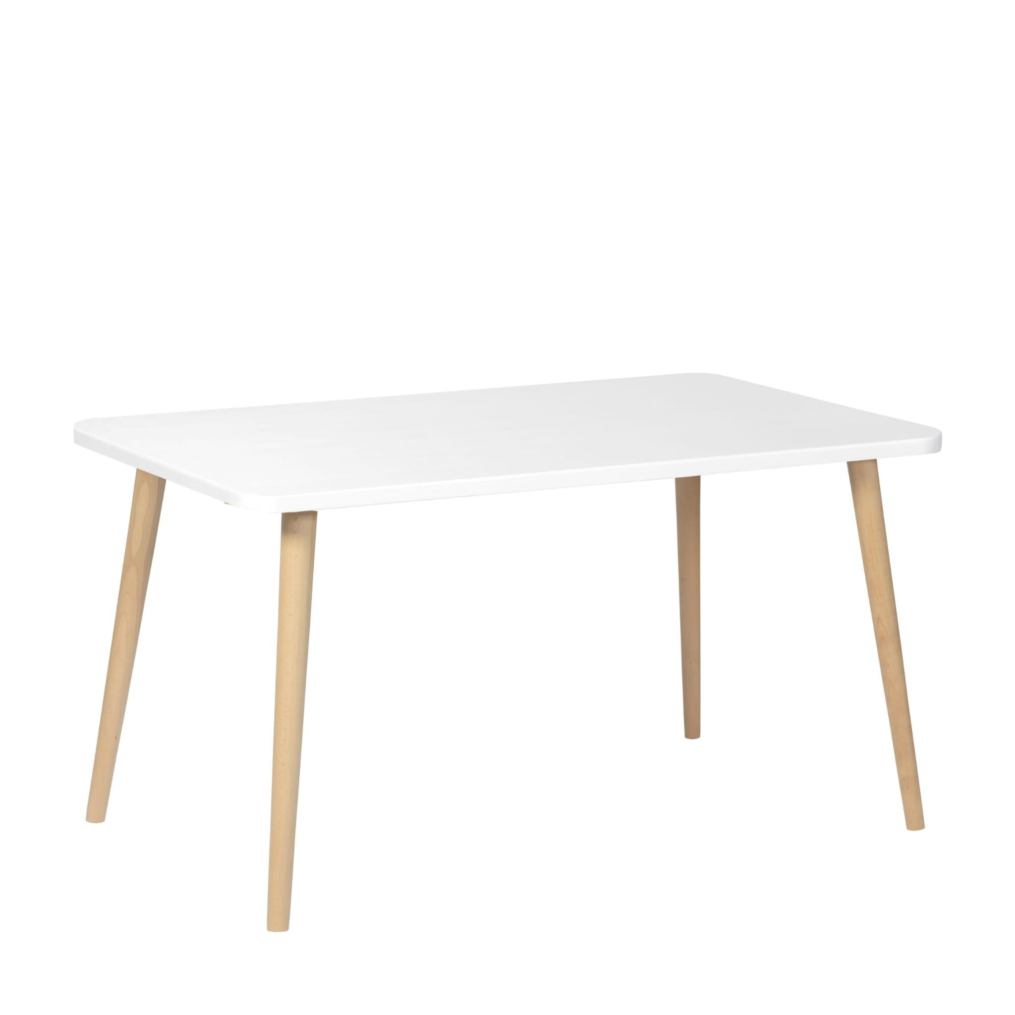 Stolik Crystal White 60×100 bukowe nogi