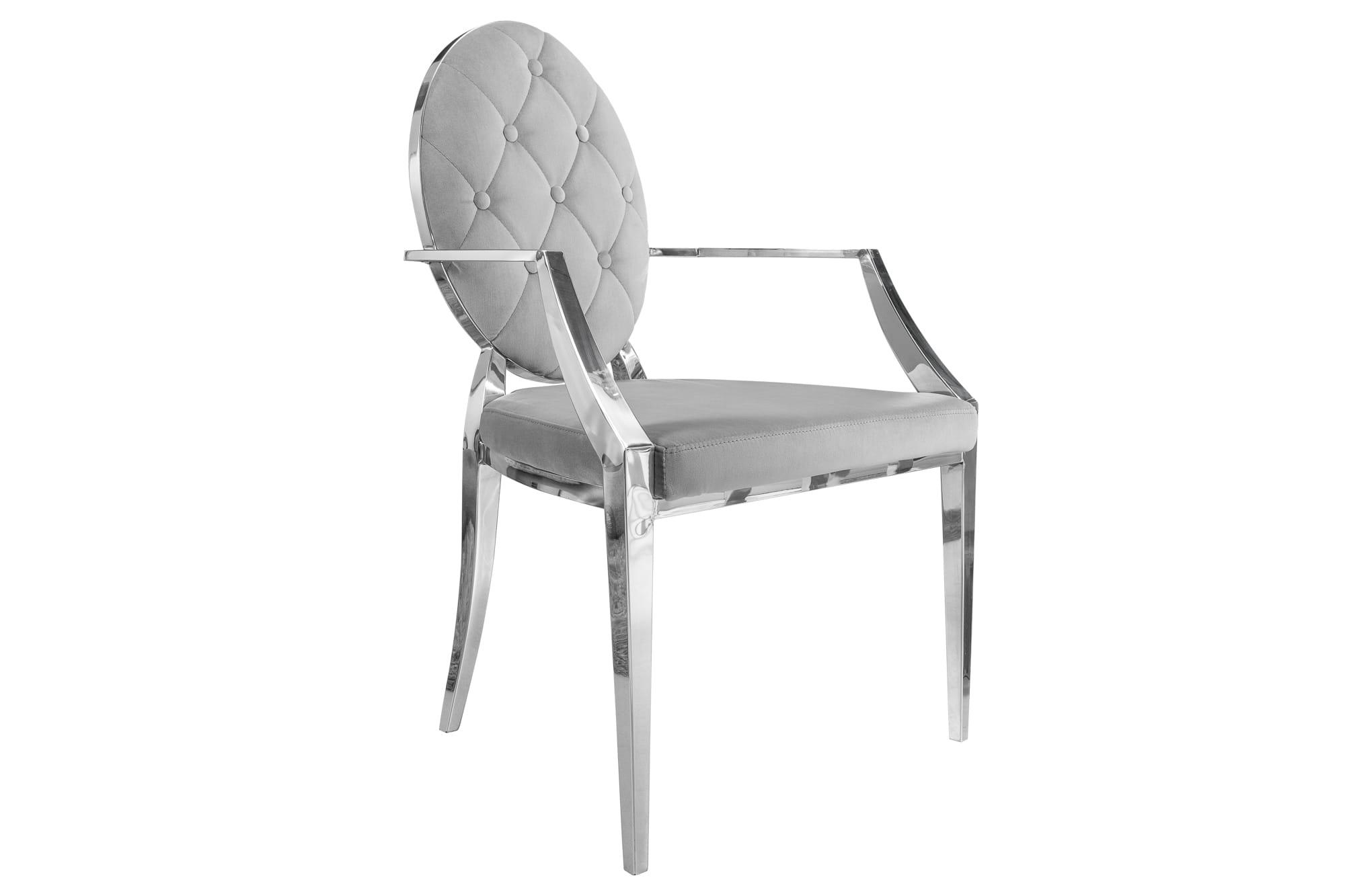 Krzesło New Barok szare z podłokietnikami