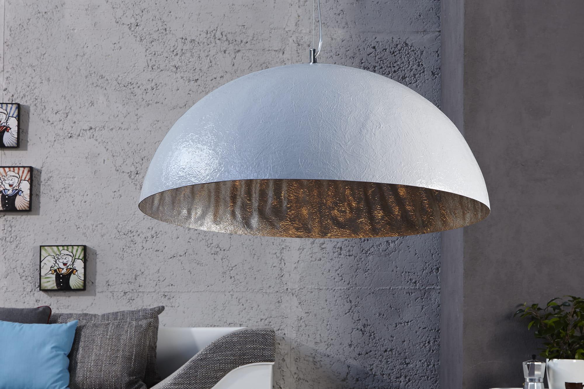 Lampa wisząca Sinus biało-srebrna 50 cm