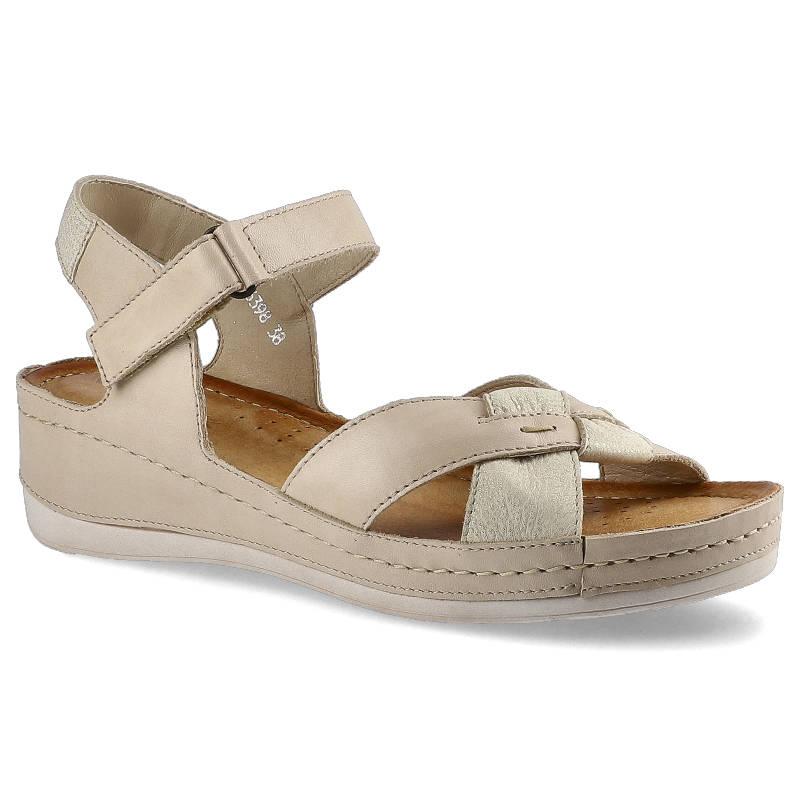 Sandały WASAK 0473 Beż+Złoty rozmiar 36