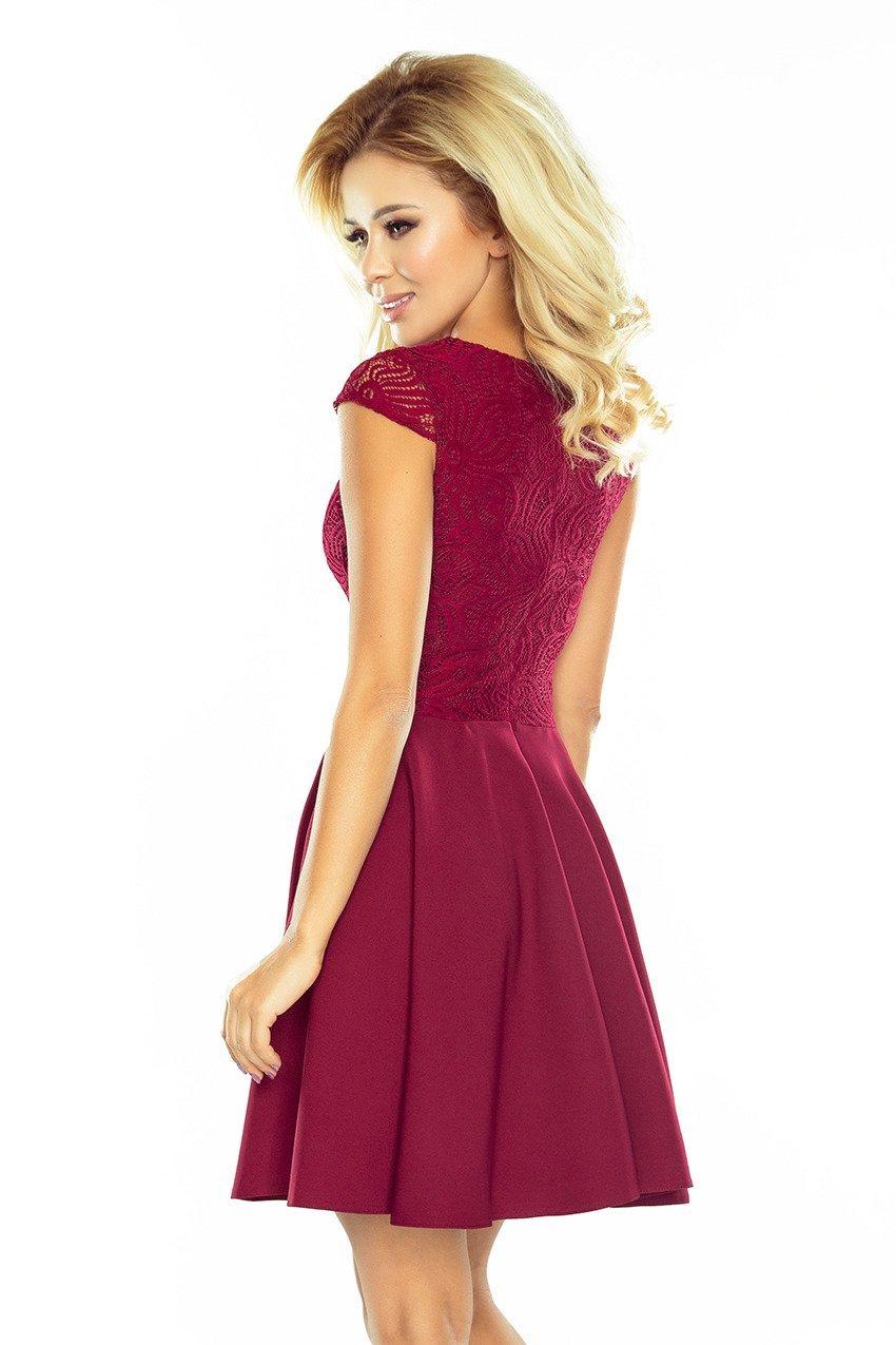 Sukienka Elegancka rozkloszowana sukienka z koronkową górą bordowa