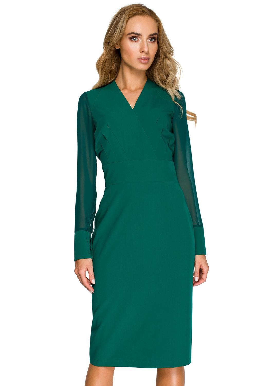 Opis: Elegancka koktajlowa sukienka z szyfonowymi rękawami.