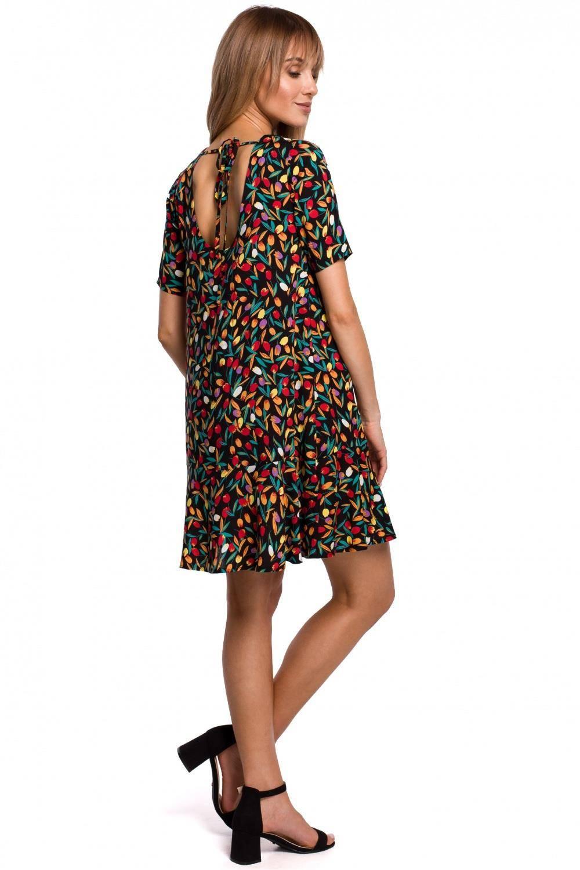 Sukienka Przewiewna trapezowa sukienka w kwity z falbaną 2