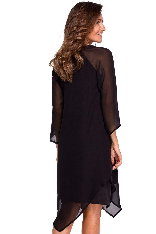Opis: Koktajlowa szyfonowa asymetryczna sukienka BOHO.