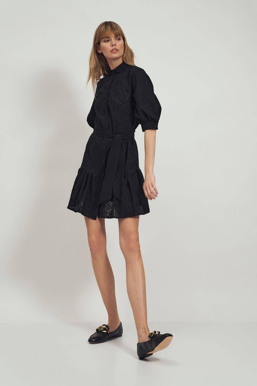 Sukienka Bawełniana czarna haftowana sukienka w kwiaty z falbaną 2