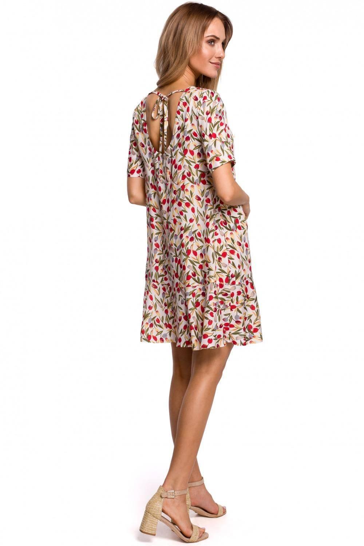 Sukienka Przewiewna trapezowa sukienka w kwiaty z falbaną 2