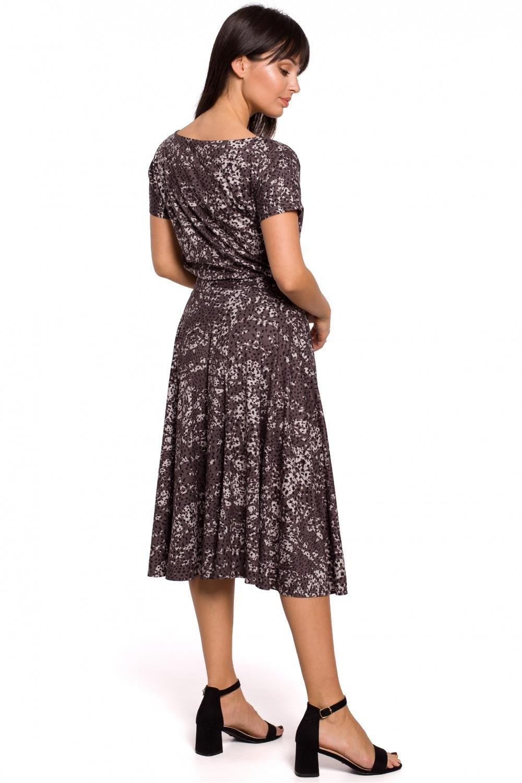 Sukienka Rozkloszowana sukienka w panterkę wiązana w talii