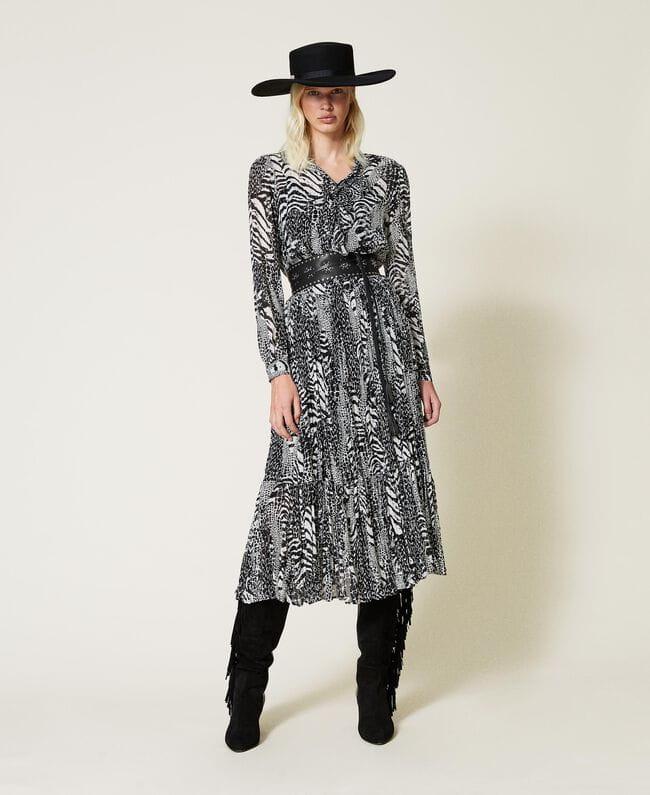 Sukienka Długa sukienka z krepony w zwierzęcy print Twinset