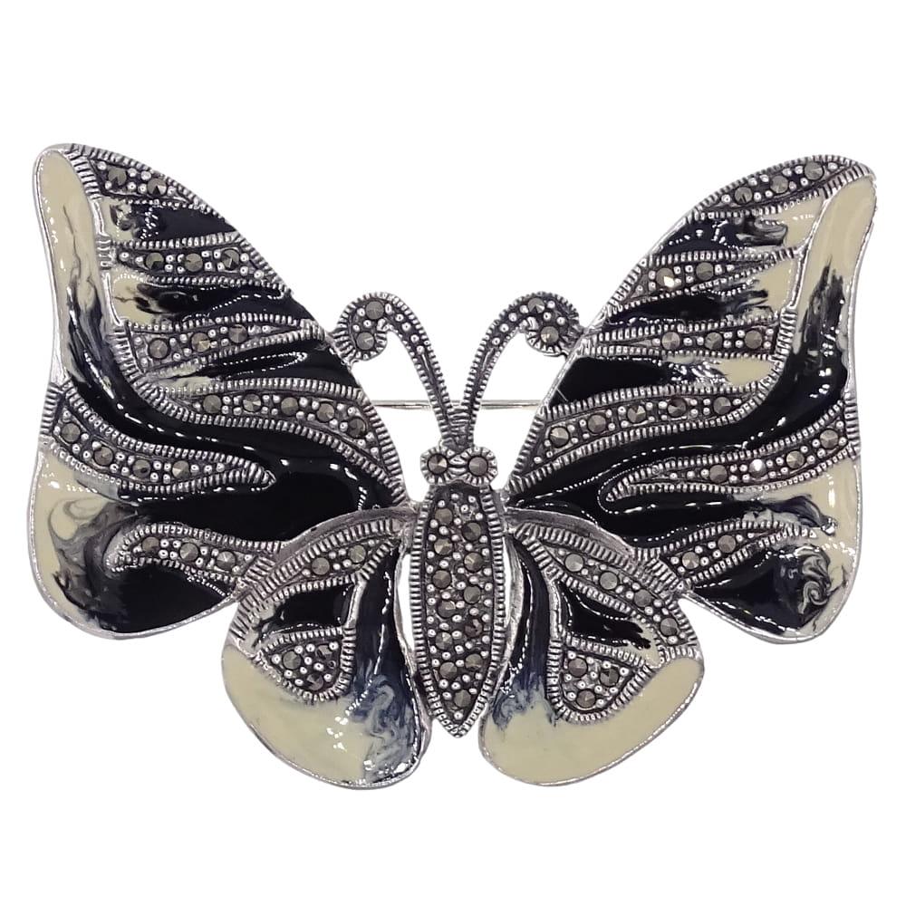 NIMFA Srebrna broszka markazyty emalia motyl