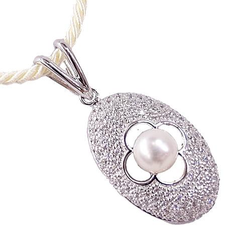 KRÓLOWA ŚNIEGU Srebrny naszyjnik z perłą i cyrkoniami