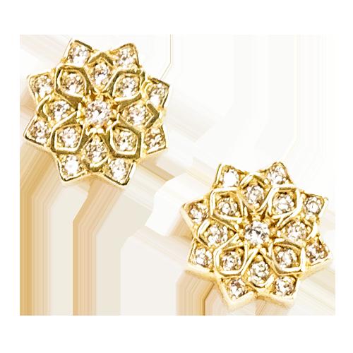 ULA Kolczyki złote kwiaty z cyrkoniami
