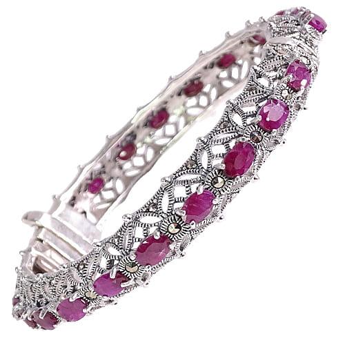 VENUS Srebrna bransoletka markazyty rubiny ażur bangle 10 ct.