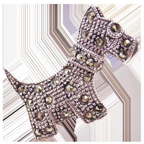 OZZY Srebrna broszka z markazytami pies terrier mała