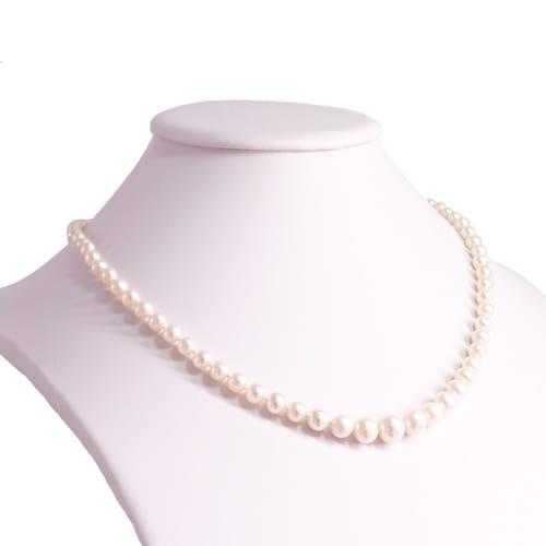 ANISSA Naszyjnik z białych naturalnych pereł stopniowany kolia