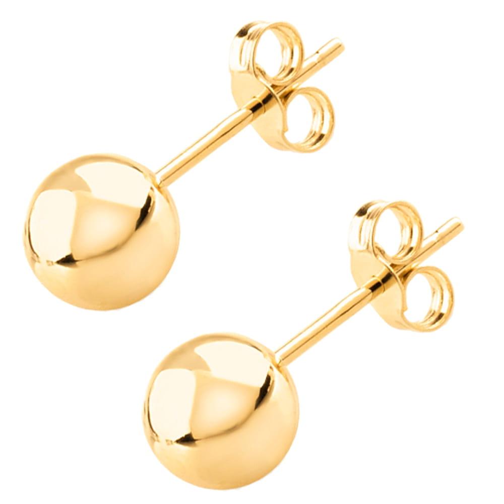 TICO Kolczyki złote kuleczki sztyft 6 mm 585