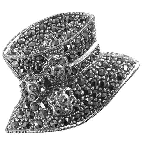 TOPI Srebrna broszka markazyty kapelusz średnia