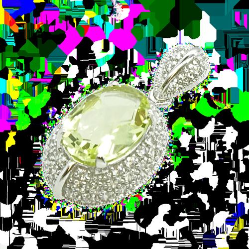PRZEPYCH ORIENTU Srebrny wisiorek z kwarcem lemon i cyrkoniami