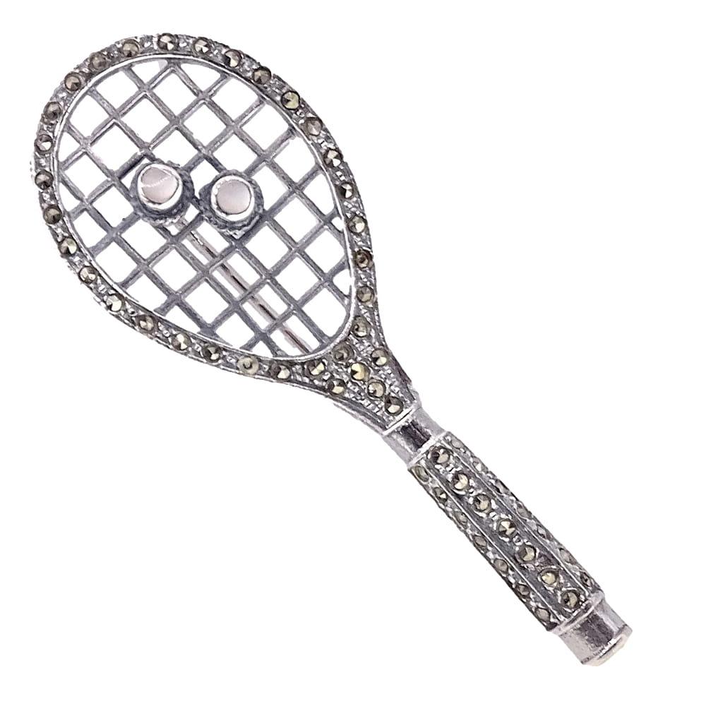 STEFFI Srebrna broszka rakieta tenisowa markazyty